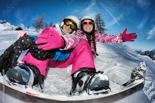 adolescentes,  neige et vacances