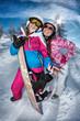 Neige et ski en rose et bleu