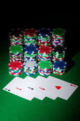 Many cards and casino chips