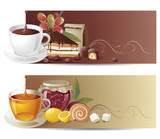 Fototapety coffee and tea banners. EPS 10 - contains transparences