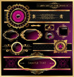 Vector set of black purple - framed labels