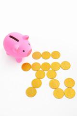 Piggy bank and renminbi sign