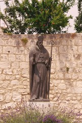 A statue of a holy bishop in Trogir in Croatia