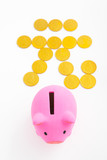 Piggy bank and renminbi sign poster