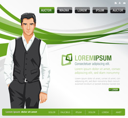 Green website Template with business man
