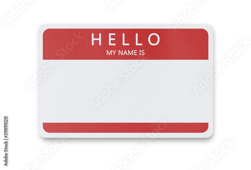 Blank name tag with clipping path