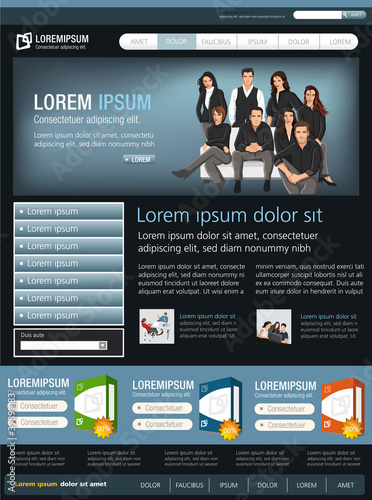 Blue website Template with business people