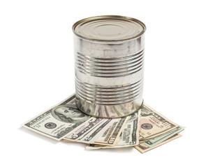 Metall barrel and money