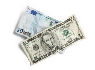 Crumpled money isolated on white