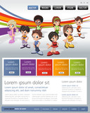Colorful website Template with kids