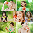 Young beautiful women with apples