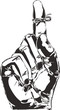 Sketch of Right hand with reminder string tied to index finger.