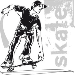 Sketch of Skateboard boy. Vector illustration