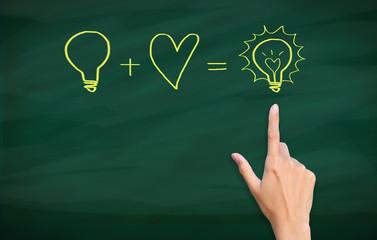 finger point to light bulb drawn on blackboard
