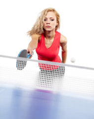 Sexy Sports girl plays table tennis