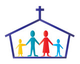 Icon of Church with cross and believers poster