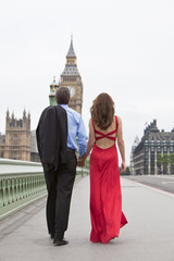 Romantic Couple on Westminster Bridge, Big Ben, London, England