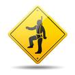 Señal amarilla simbolo arnes de seguridad