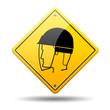 Señal amarilla casco con proteccion para rostro