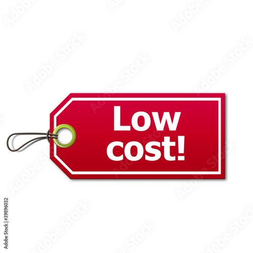 Etiqueta con texto Low cost!