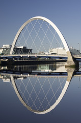Clyde Arc or squinty bridge over River Clyde in Glasgow