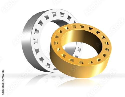 An illustration of two shiny 3d bearings