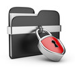 Data security concept. Black folder and lock. 3D isolated on whi