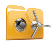 Data security concept. Yellow folder and lock. 3D isolated on wh