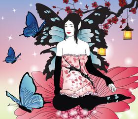 fairy with butterflies in an enchanted garden