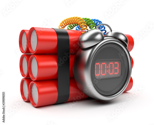 Bomb with clock timer 3D. Countdown. Isolated on white