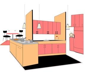 retro kitchen design over white