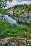 Scandinavian landscape with rocks poster