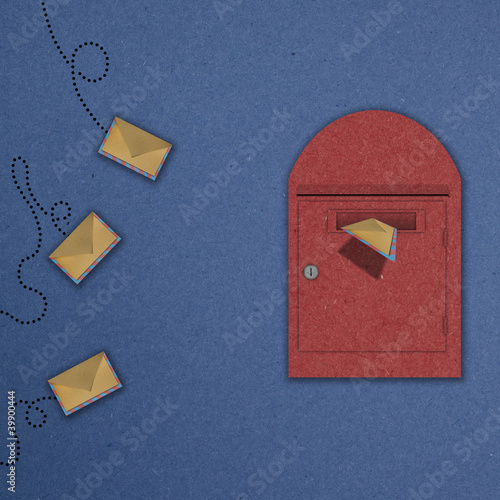 Red Postal box with 3 letter flying and one letter is insert in