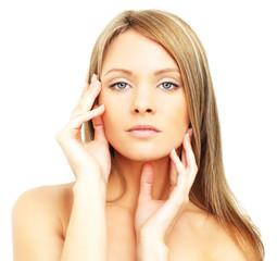 Beautiful woman, face isolated - spa skin care