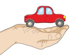 automobile sulla mano