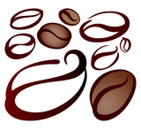 Fototapety set of coffee beans