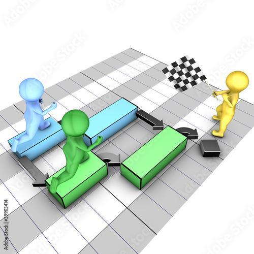 Concept of gantt chart. A team completes tasks.