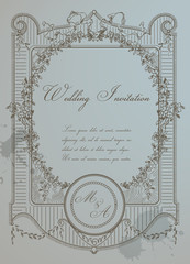 Vintage Wedding Card - High Quality Detailed Retro Frame in vect