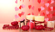 Beautiful candles with romantic decor