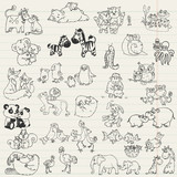Fototapety Baby Animals with Moms - hand drawn in vector