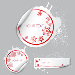 Set of winter bubbles, stickers, labels, tags.
