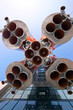 Details of space rocket engine over blue sky background