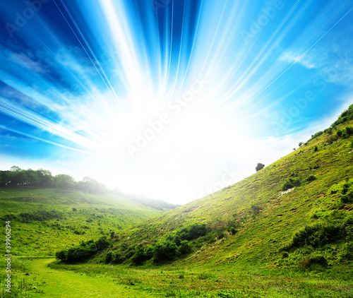 vivid countryside sunlight