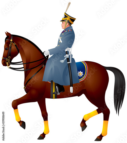 Cavalier on a horse, Russian dragoon