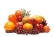 A pile of fresh and tasty fruits isolated on a white background