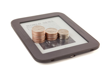 Electronic book reader with bars of coins