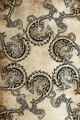 Tattoo group of  dragons, ancient decoration