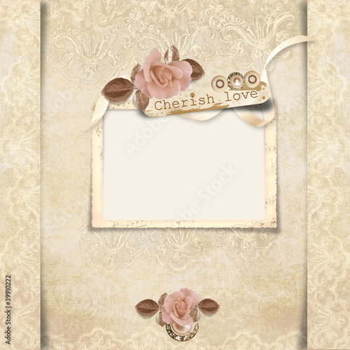 Old frame with roses on victorian background
