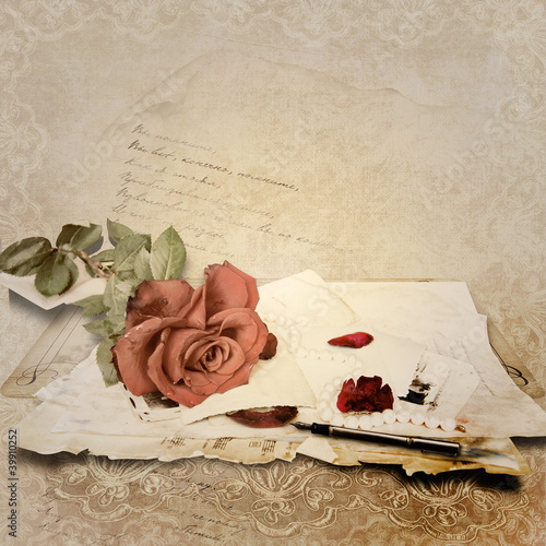 Vintage background with rose and old cards