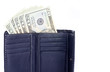 US Dollar Bills in a Black Leather Wallet